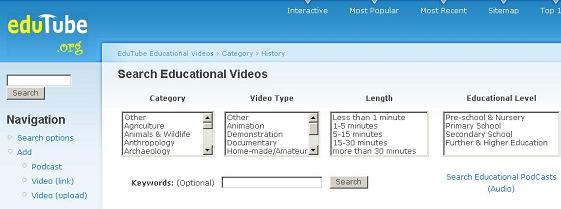 Edutube search screen