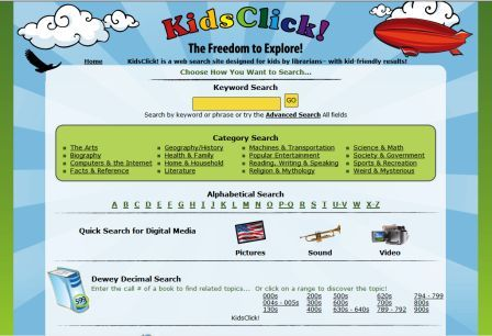 Kids Click safe search engine