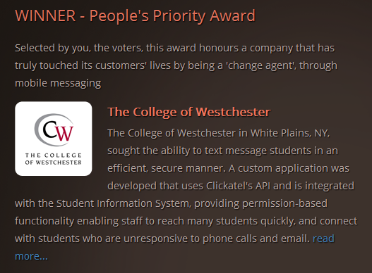 College of Westchester Award Winning Application
