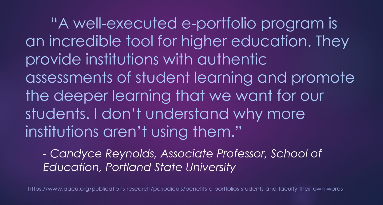 Authentic Assessment Deeper Learning Eportfolios In Higher
